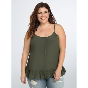 Torrid Button Front Ruffle Cami Top